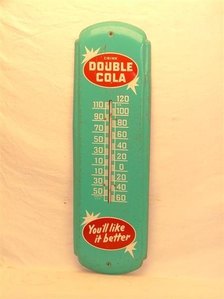 """39: Double Cola """"You'll like it better"""" Tin thermometer"""