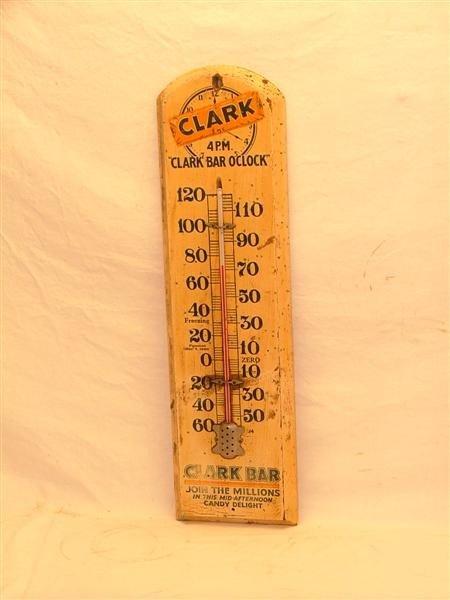 """40: Clark """"4 P.M. Clark Bar O'clock""""  Wooden thermomete"""