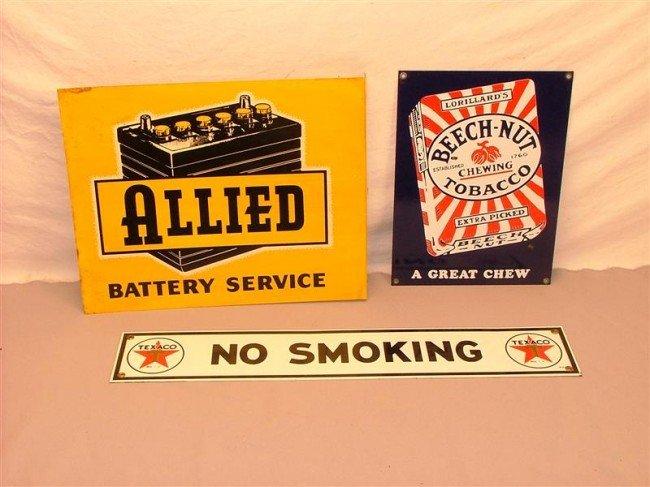"454: 3 - reproduction signs, Texaco ""no smoking"", Beach"