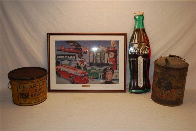 465: Repop Coke thermometer, Texaco print, En-Ar-Co buc