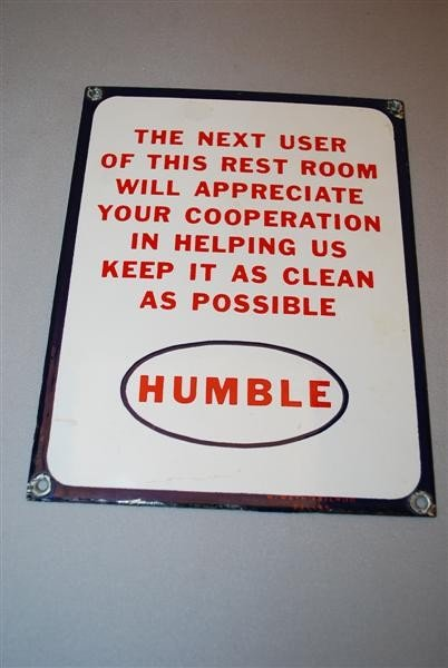 "3A: Humble ""Clean Restroom Sign"" SSP sign, 9x7 inches,"