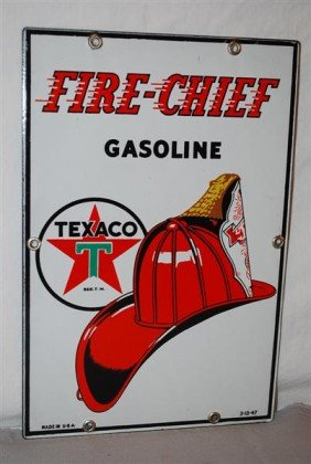 (small) Texaco (white-T) Fire Chief Gasoline With H