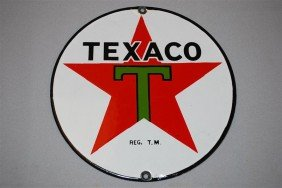 Texaco (black-T) Star Logo, SSP Sign, 8 Inch,