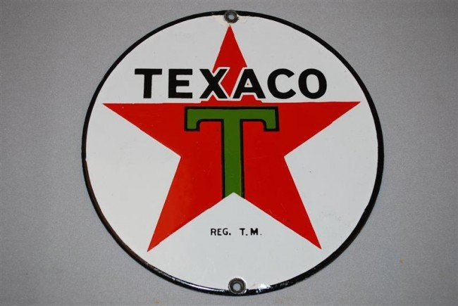 28: Texaco (black-T) star logo, SSP sign, 8 inch,