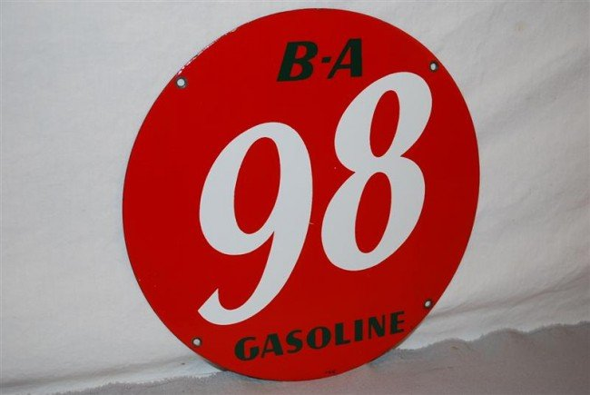 29: B-A 98 Gasoline PPP sign, 10 inch,