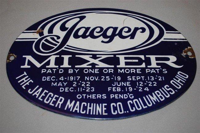 35: Jaeger Mixer Columbus, Ohio SSP oval sign, 8x11 inc