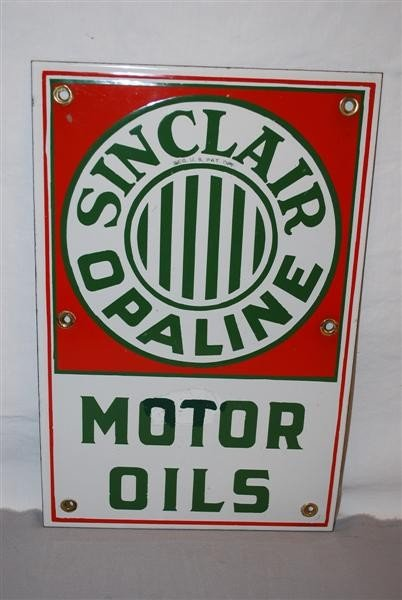 36: Sinclair Opaline Motor Oils  SSP sign, 17x11 inches