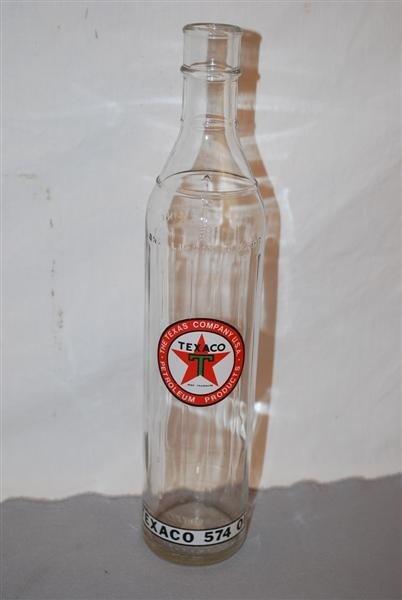 40: Texaco 574 Motor Oil one quart tall glass bottles,