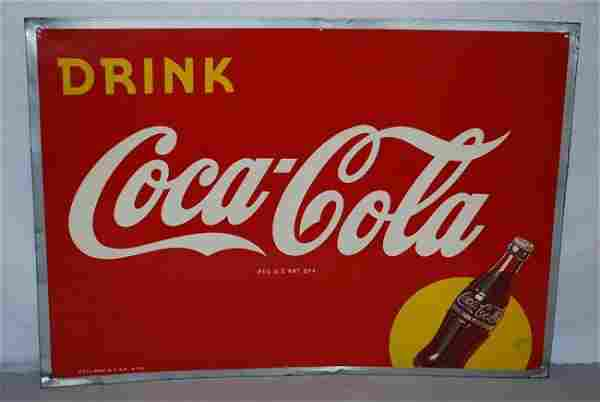 Drink Coca-Cola, bottle in yellow circle logo, SST