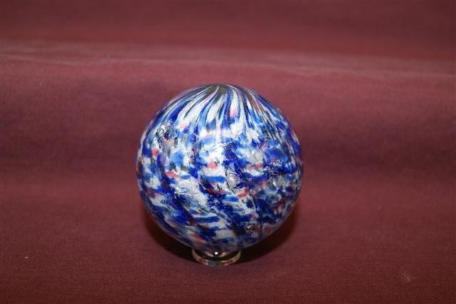 75: 12 - 2 5/16 LOBED Blue Onionskin marble