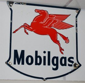 5: Mobilgas with Pegasus PPP shield-shape sign, 12.5x12