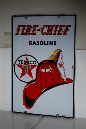 Texaco (white-T) Fire-Chief Gasoline, PPP Sign, 18x1
