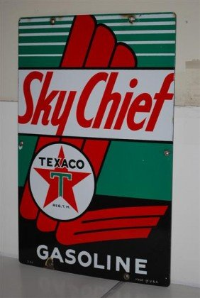7: Texaco (white-T) Sky Chief Gasoline PPP sign, 18x12