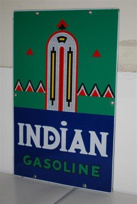8: Indian Gasoline PPP sign, 18x12 inches,