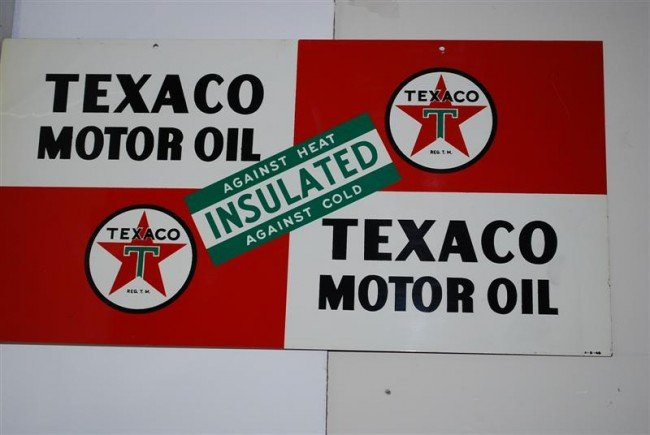 9: Texaco Motor Oil Insulated DST sign, 11x22 inches,