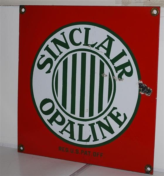 12: Sinclair Opaline with stripes, SSP sign, 12x12 inch