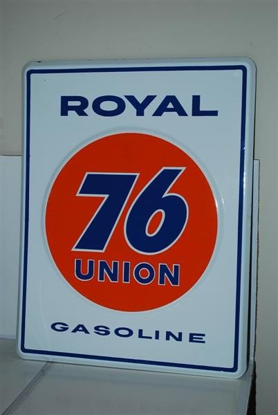 13: Union 76 Royal Gasoline   PPP embossed sign, 18x14
