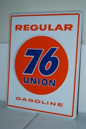 14: Union 76 Regular Gasoline, PPP embossed sign, 18x14