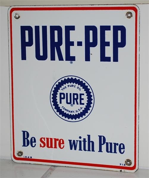 "15: Pure-Pep ""Be Sure with Pure"" PPP sign, 12x10 inches"