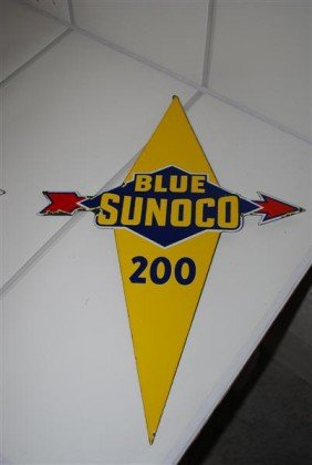 21: Blue Sunoco 200 PPP diecut sign, 21x15 inches,