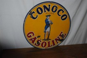 107: Conoco Gasoline with minute man  DSP sign, 25 inch