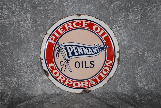 3: Pierce Oil Corp. Pennant Oils with logo, SSP convex