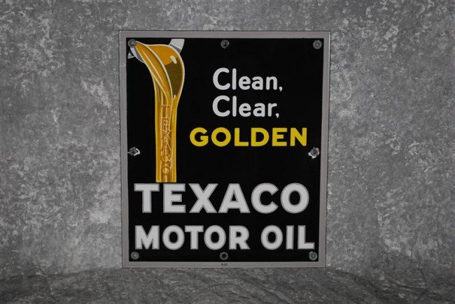 6: Texaco Motor Oil Clean Clear, Golden with oil pourin