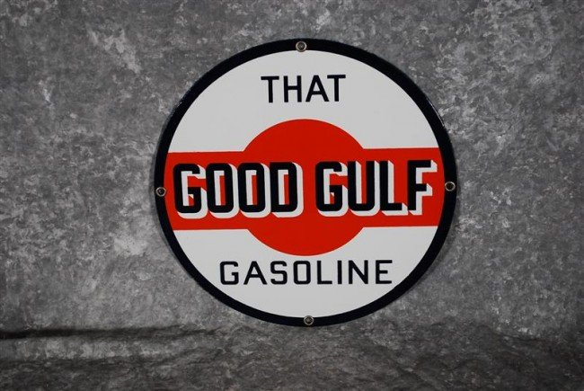 18: That Good Gulf Gasoline PPP sign, 10.5 inches,