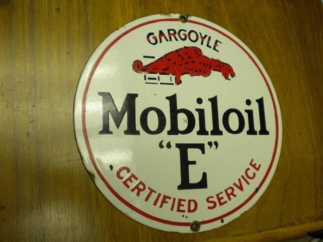"20: Gargoyle Mobiloil ""E"" Certified Service SSP sign, 8"