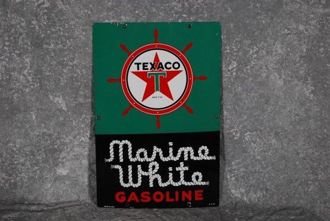 21: Texaco (white-T) Marine White Gasoline PPP sign, 18