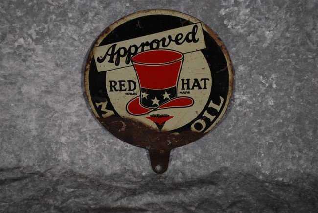 22: Approved Red Hat Motor Oil  DST paddle sign, 8x7 in