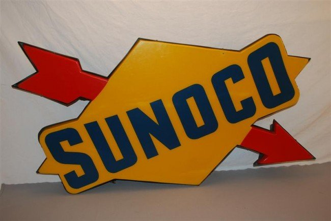 234: Sunoco logo plastic lighted sign, 32x48 inches,