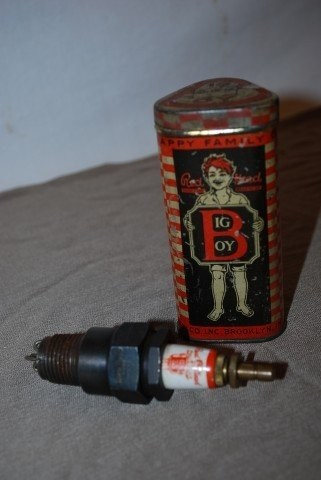 14: Red Head Big Boy spark plug and metal box,