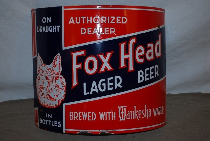 "23: Fox Head Lager Beer ""Brewed with Waukesha Water"" wi"