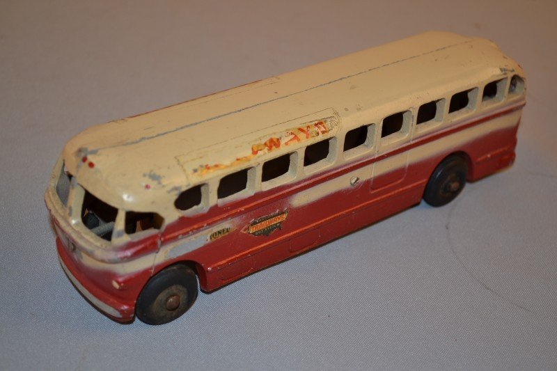 10: Realister Trailways Bus, aluminum, 9 inches long,