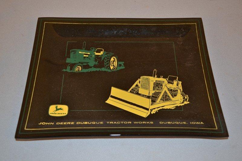 12: John Deere Dubuque Tractor Works glass advertising