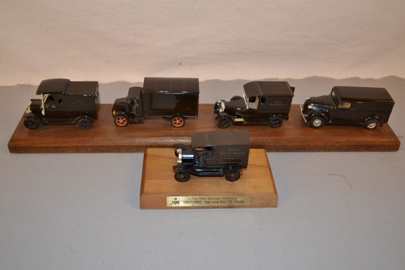 21: 5-Different UPS delivery truck models, diecast,  1/