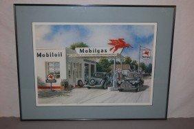 Framed, Signed, Vintage Mobilgas Station Print, Rat