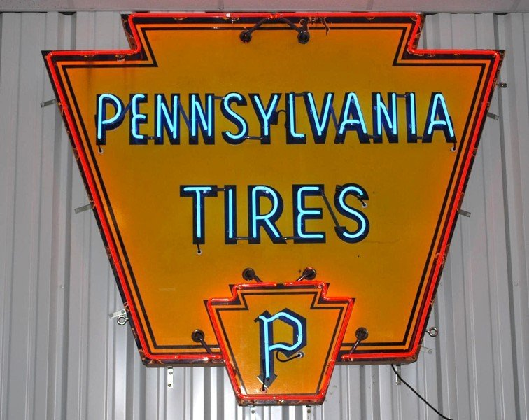 78: Pennsylvania Tires with logo, SSP diecut neon sign,