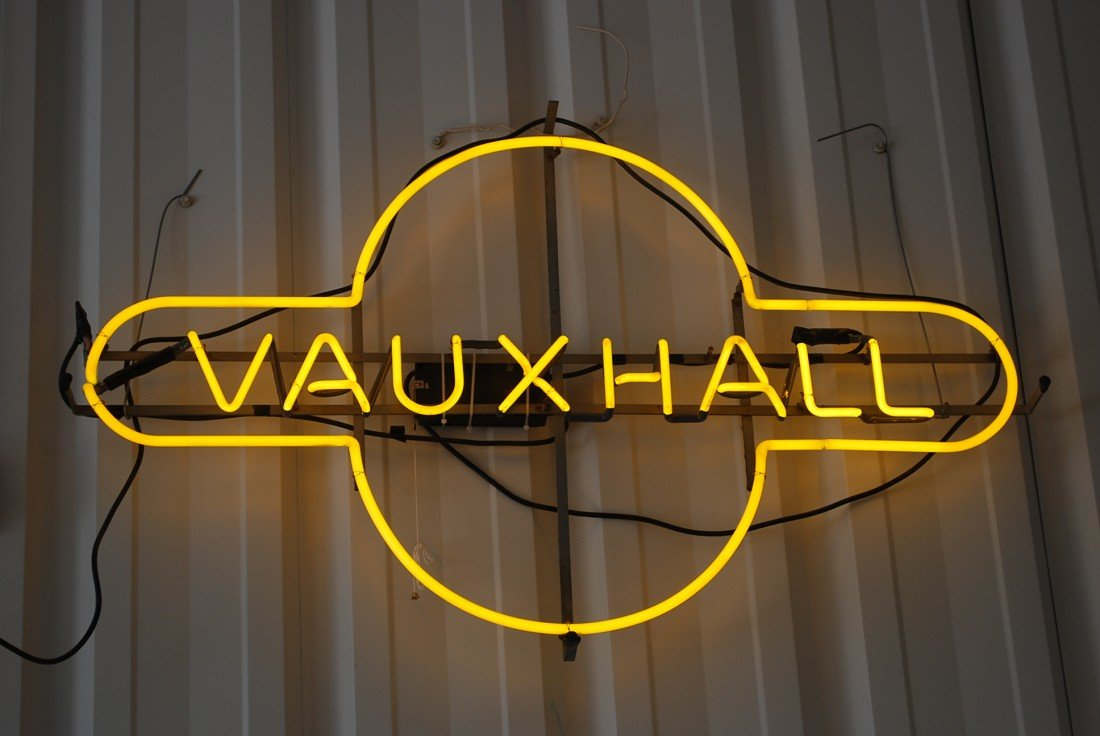 85: Vauxhall  skeleton neon sign, 28x46x5 inches,