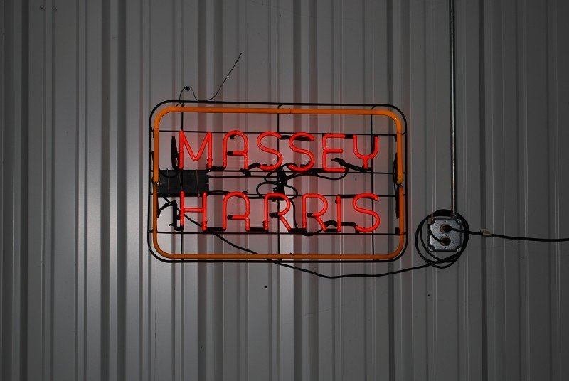 87: Massey Harris skeleton neon sign, 20x32 inches,