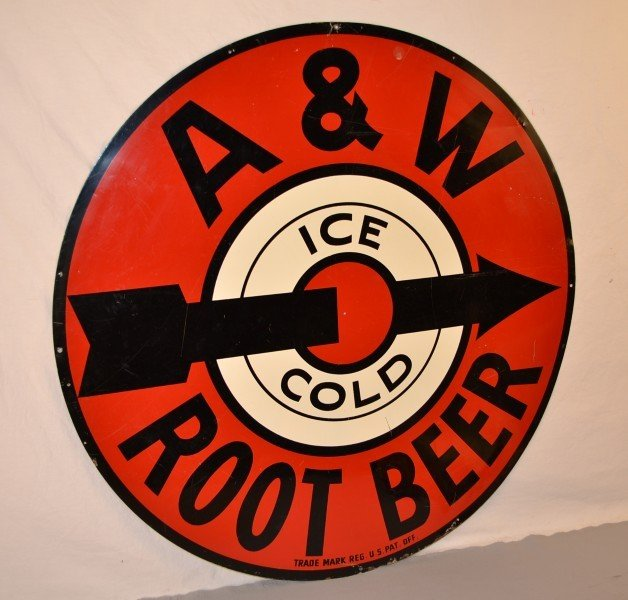 "90: A&W Rootbeer, ""Ice Cold"", rated 8,  SST sign,  35 i"