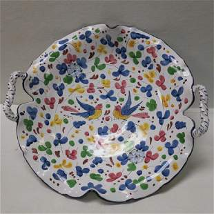 Italian Pottery Ruffled Rim Center Bowl: