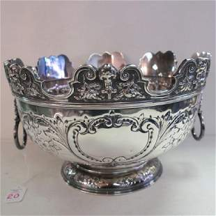 Silver-plate Monteith Bowl with Lion Mask Handles: