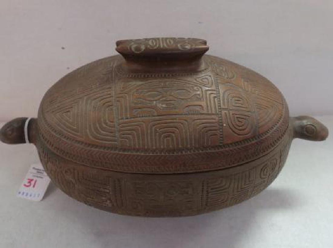 Marquesas Islands Highly Carved Koa Wood Lidded Bowl: