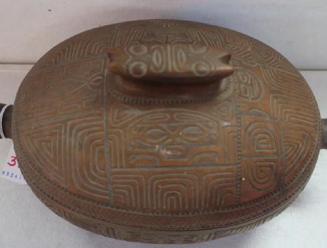 Marquesas Islands Highly Carved Koa Wood Lidded Bowl: - 2