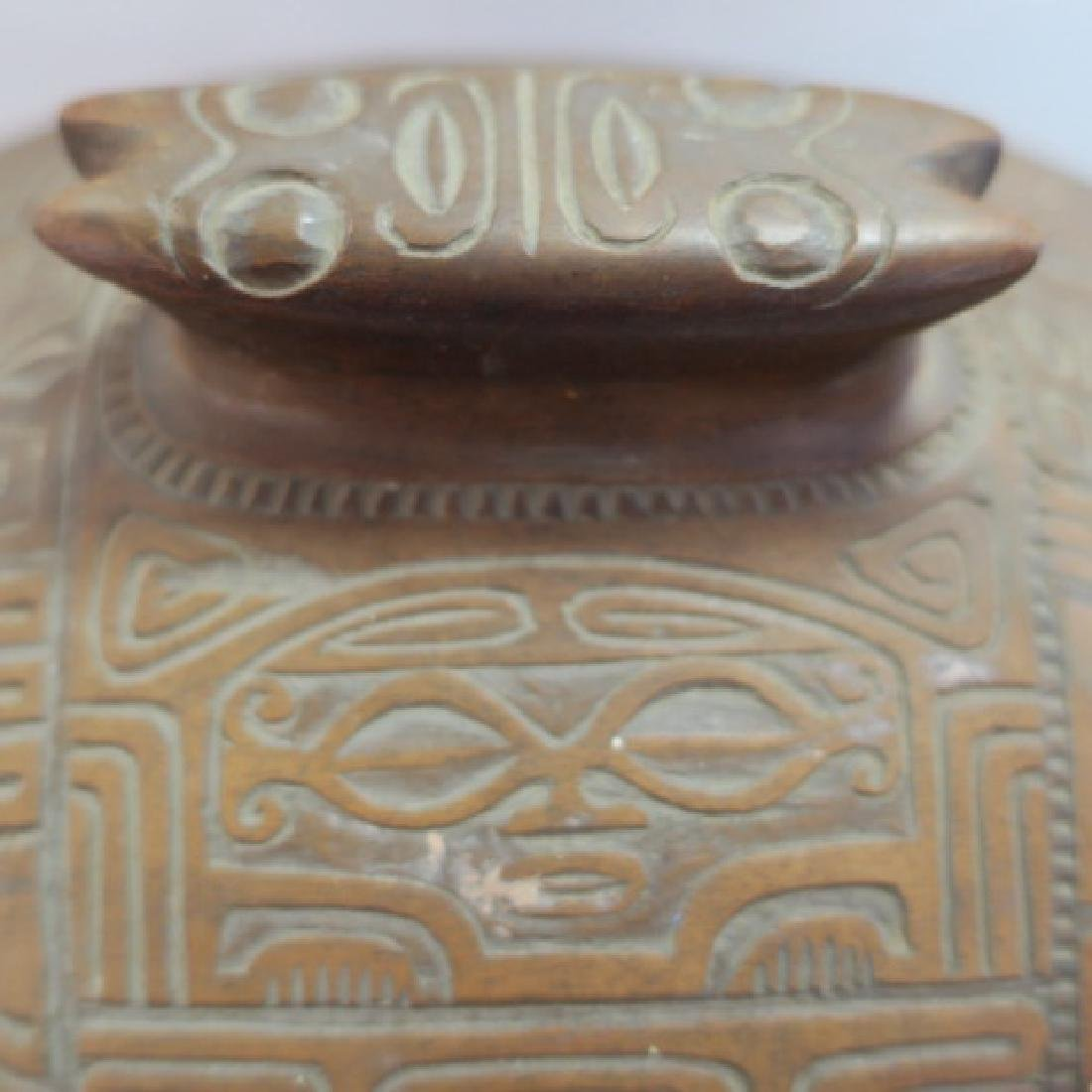 Marquesas Islands Highly Carved Koa Wood Lidded Bowl: - 5