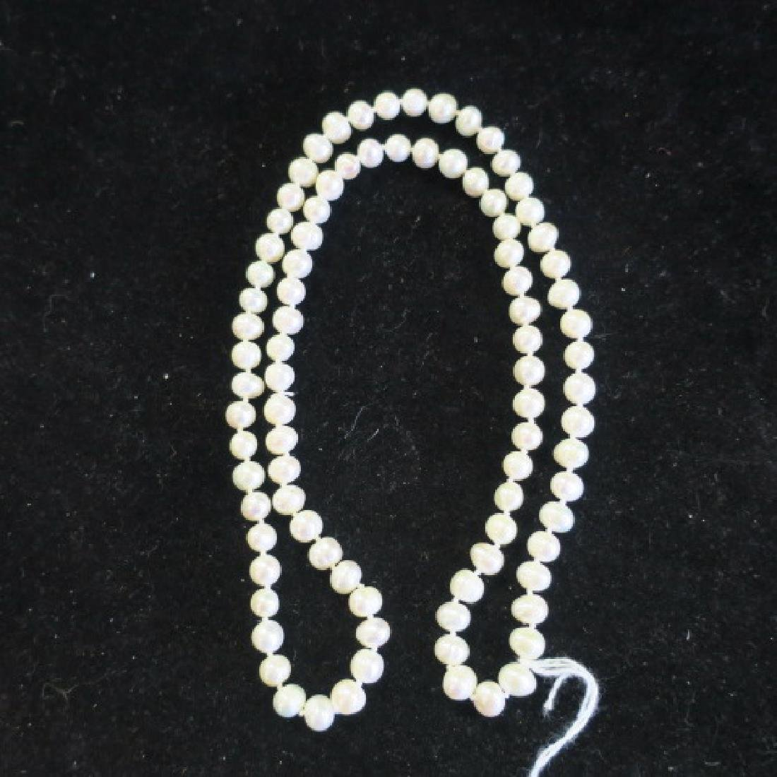 "26"" Strand of Hand knotted Cultured Pearls: - 3"