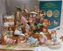 Twenty Vintage Beatrix Potter Figurines and Guide: