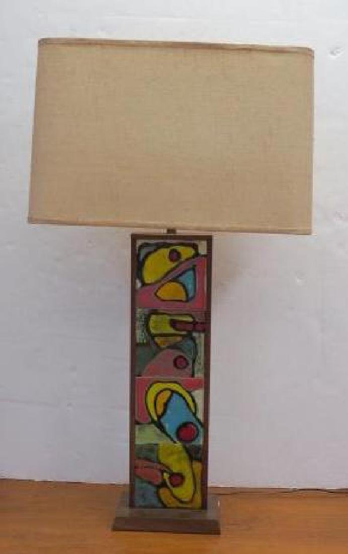 1950's Double Sided Colorful Ceramic Tile Table Lamp: